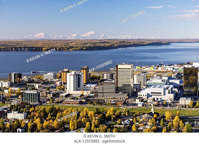 Aerial view of downtown Anchorage, Denali and the Alaska Range, and Cook Inlet during autumn, Southcentral Alaska, USA