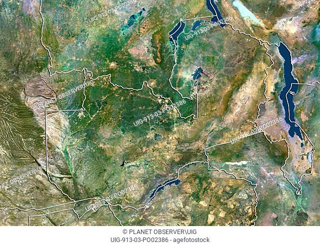 Satellite view of Zambia with border. This image was compiled from data acquired by LANDSAT 5 & 7 satellites