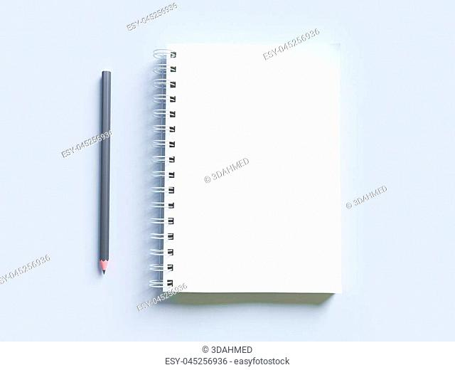Empty photorealistic mock-up notebook on a light gray background, 3d illustration. rendering, stationery, template, textbook, texture, top, up, view, white
