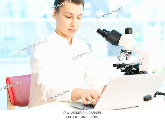 Female scientist using laptop with microscope