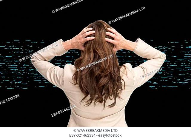 Composite image of young classy businesswoman with hands on head standing back to camera
