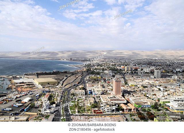 Cityscape, coast, Kueste, Stadtansicht, Arica, Norte Grande, northern Chile, Nordchile, Chile, South America, Suedamerika