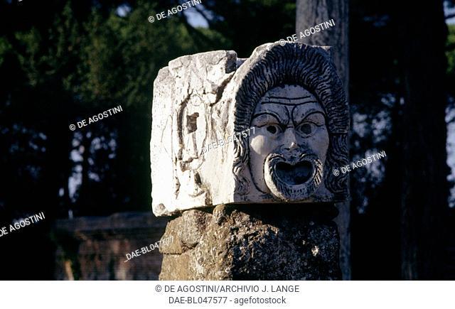 Theatrical masks, Theatre of Ostia Antica, Rome, Italy. Roman civilisation