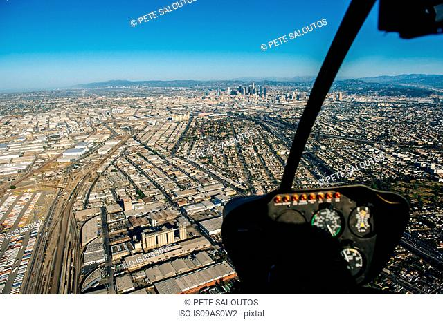 Aerial view of Los Angeles from helicopter cockpit, California, USA