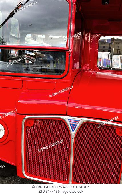 Routemaster london bus used for tours round Llandudno North Wales. Sitting at terminus awaiting passengers at Llandudno seafront
