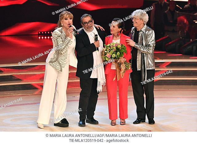 Milly Carlucci, Guillermo Mariotto, Maria Jesus Fernandez wife of Antonio Razzi, Antonio Razzi at the tv show Ballando con le setelle (Dancing with the stars)...