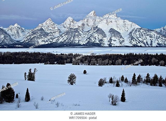 Teton Range at dawn in the winter, Grand Teton National Park, Wyoming, United States of America, North America