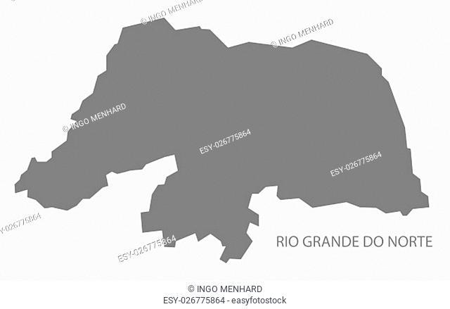 Rio Grande do Norte Brazil Map grey