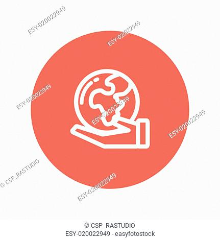 Hand holding earth thin line icon