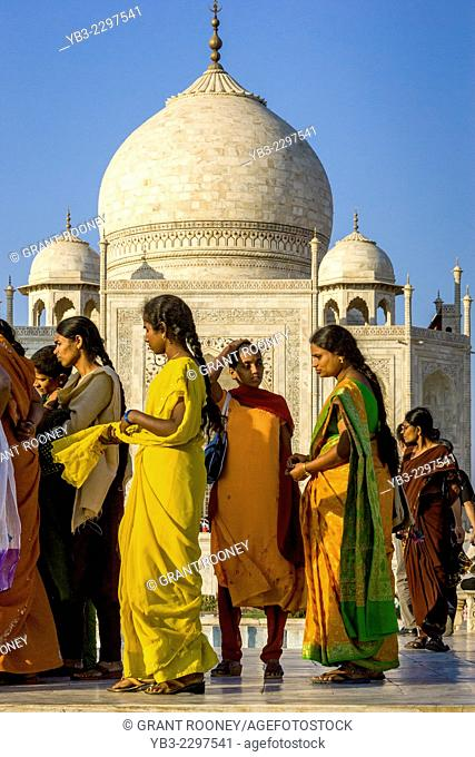 Indian Tourists Visiting The Taj Mahal, Agra, Uttar Pradesh, India