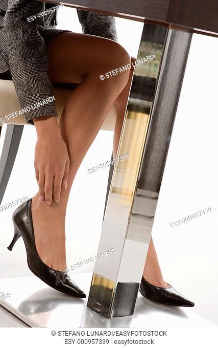 Close-up of businesswoman legs