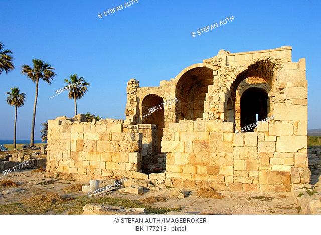 Ruin of the Byzantine church Agios Filion with palms Karpaz Peninsula North Cyprus