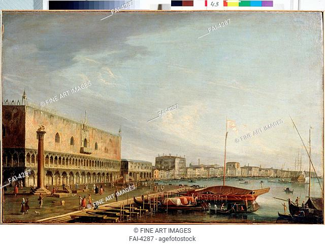 View of the St. Mark's Square with the Doges palace in Venice. Tironi, Francesco (1745-1797). Oil on canvas. Italian Painting of 18th century