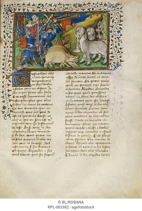 Alexander repels elephants Whole folio Alexander the Great with pigs and musical instruments drives off the elephants. Image taken from La Vraye Histoire du Bon...