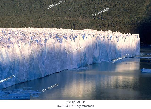 Perito Moreno Glacier, glacier front with a height above the lake level of 60 to 70 meters in the Lake Argentino, Argentina, Patagonia