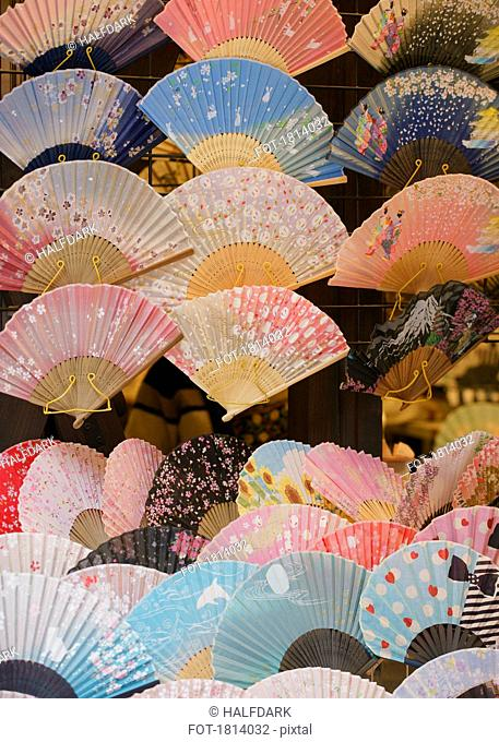 Variety of hand fans on display, Tokyo, Japan