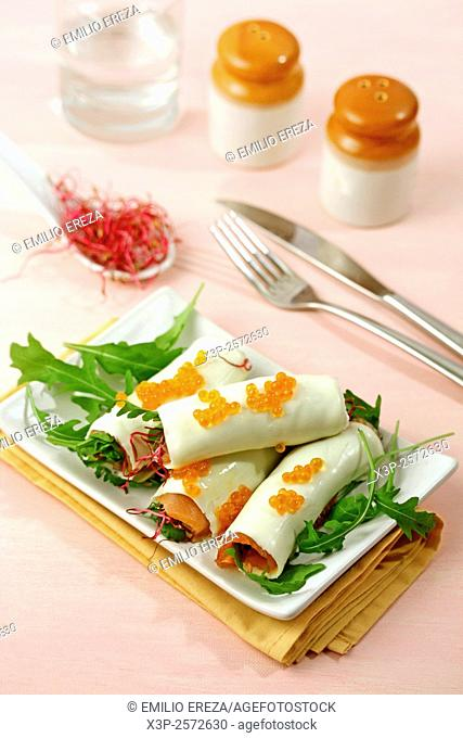 Salmon and cheese cannelloni