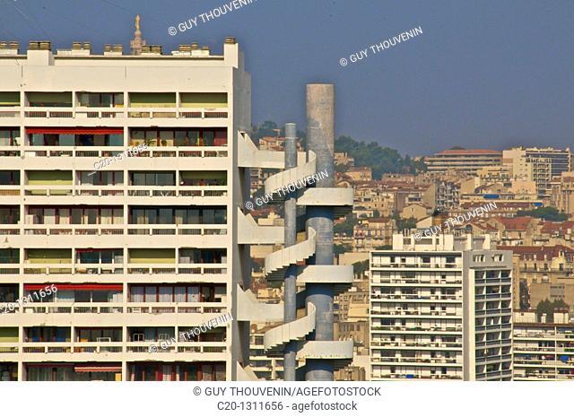 Buildings seen from Le Corbusier building, Marseille, Bouches du Rhone, 13, France