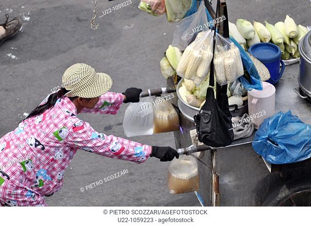 Phnom Penh (Cambodia): a woman working as street food seller pushing her cart