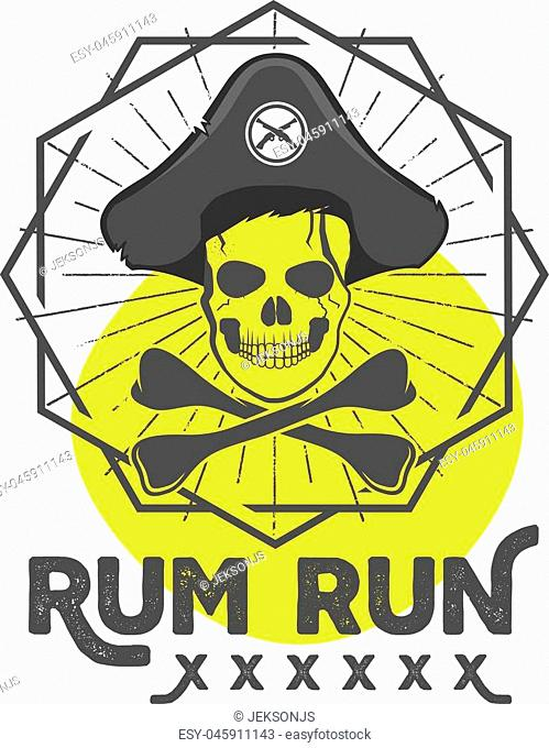 Pirate skull insignia or poster. Retro rum label design with sun bursts, geometric shield and vector text - rum run. Vintage style for tee design, t-shirt