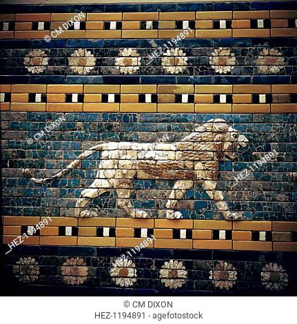 Glazed Brick relief of a lion on the walls of the Sacred Way leading to the Ishtar Gate, Babylon, c580 BC. In the collection at the Pergamon Museum in Berlin