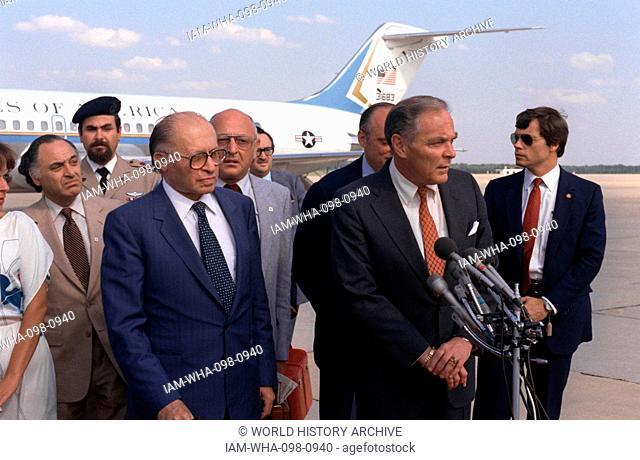 Alexander Haig Jr. (1924 – 2010) United States Secretary of State with Israeli Prime Minister Meacham Begin, in Israel 1981