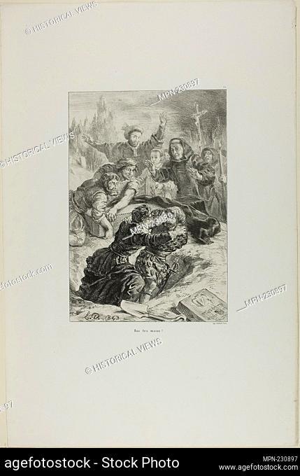 Hamlet and Laertes in Ophelia's Grave, plate 15 from Hamlet - 1843 - Eugène Delacroix French, 1798-1863 - Artist: Eugène Delacroix, Origin: France, Date: 1843