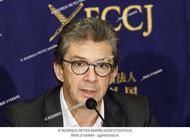 October 24, 2018, Tokyo, Japan - Andre Calantzopoulos CEO of Philip Morris International Inc. speaks during a news conference at The Foreign Correspondents'...