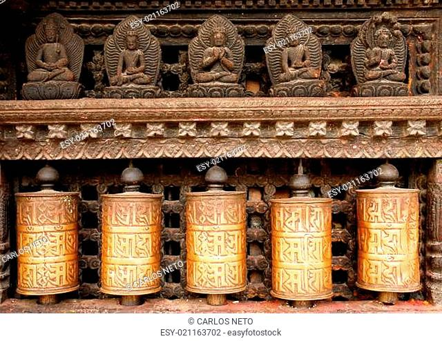 Prayer wheels at swayambhunath monkey temple in Kathmandu