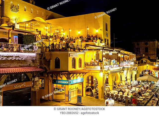 Colourful Restaurants In Ippokratous Square, Rhodes Old Town, Rhodes, Greece