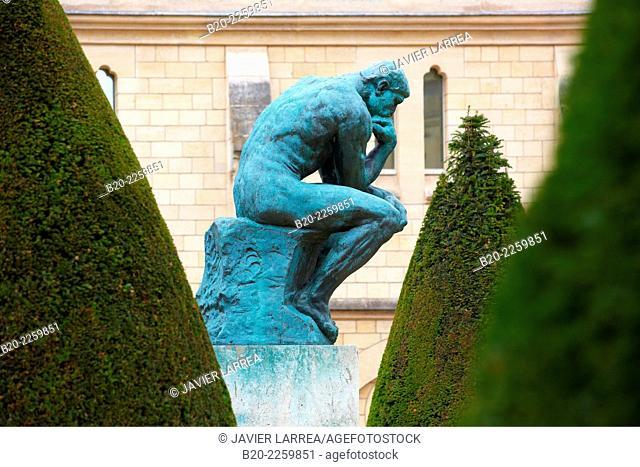 The Thinker, sculpture by Auguste Rodin. Rodin Museum. Paris. France