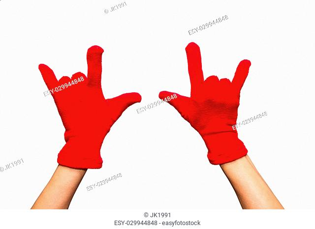 woman knitted gloves of sign on white isolated background with clipping path