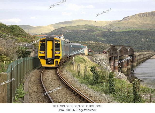 Arriva Train on Barmouth Railway Bridge; Wales; UK