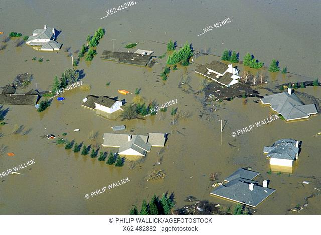 Flooded homes near Marysville. California, USA
