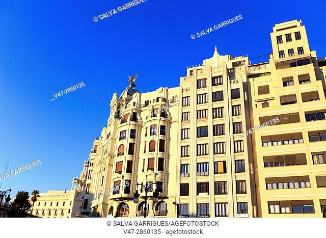 Apartment building in the street Játiva of Valencia, Spain, Europe