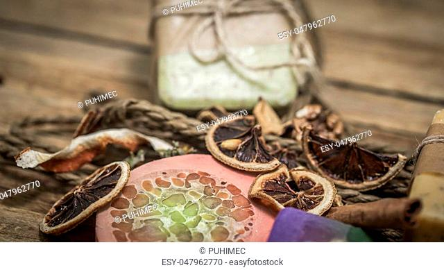 handmade soap on wooden background, concept of beauty and body care ,SPA