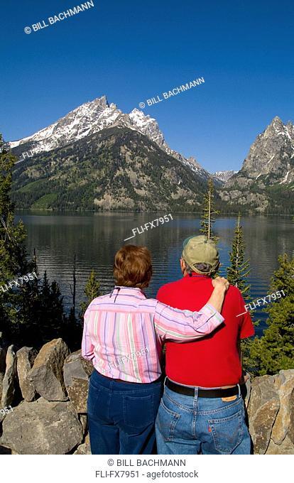 Senior Couple Enjoying View in Grand Tetons, Wyoming, USA
