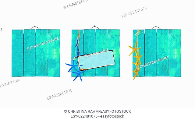 Green beach theme wood plank backgrounds with starfish and metal plate for copy space isolated on white