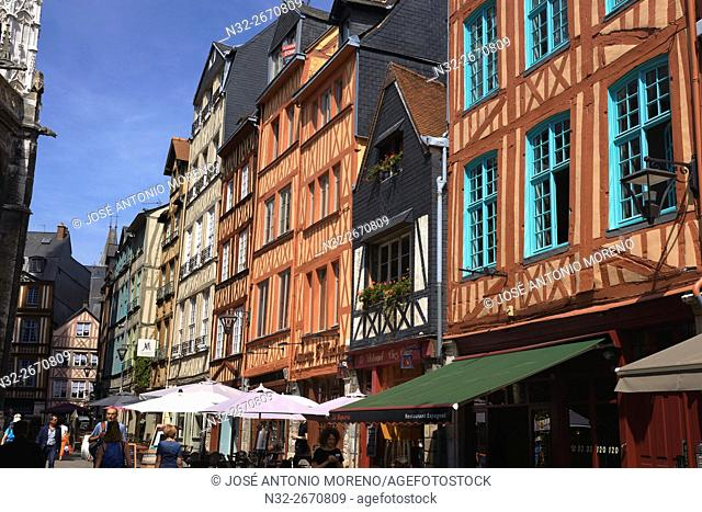 Rouen, Half timbered Houses, Martainville street, Rue de Martainville, Haute Normandie, Seine Maritime Department, Normandy, France