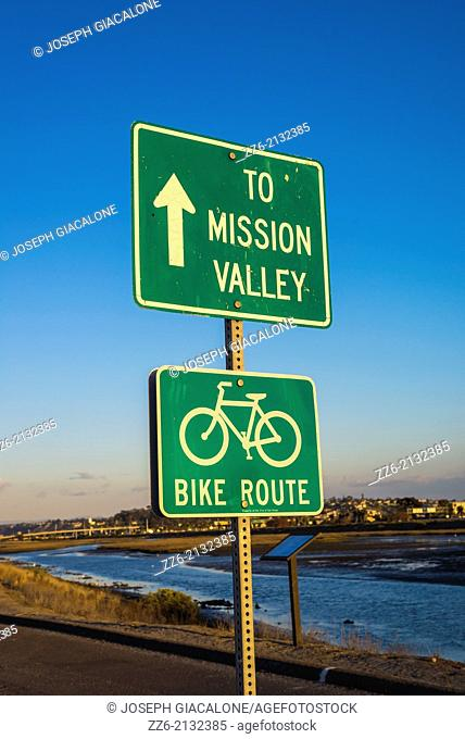 Bike route sign along the San Diego River. San Diego, California, United States