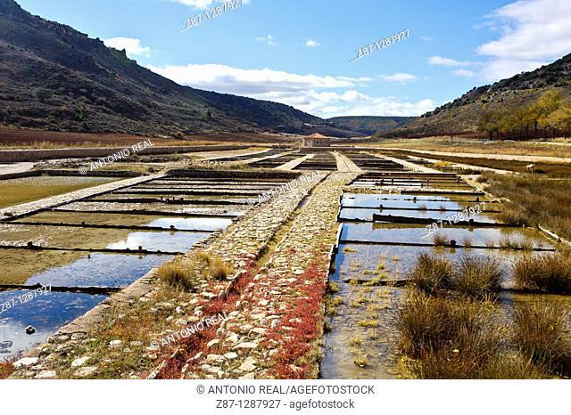 Salt Pans in Saelíces de la Sal, Parque Natural del Alto Tajo, Guadalajara, Spain