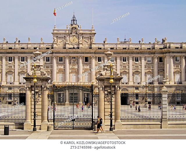 Spain, Madrid, View of the Royal Palace of Madrid.