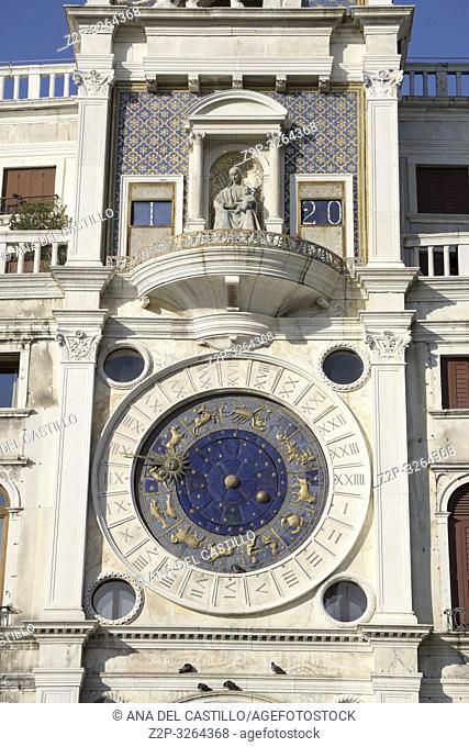 Venice, Veneto, Italy : The clock at Saint Marks square