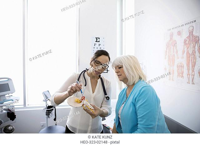 Female doctor explaining neck model to senior patient in clinic examination room