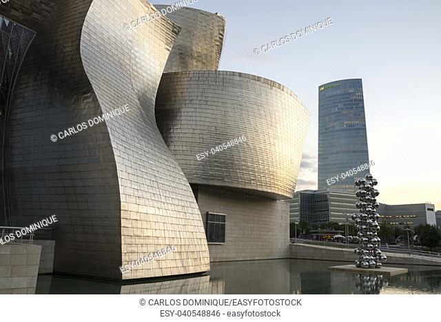 Sunset in Guggenheim Bilbao museum with warm light