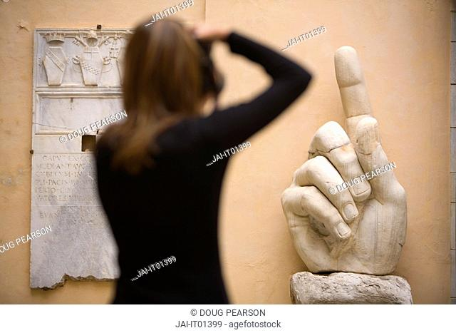 Young Woman Taking Photos, Palazzo dei Conservatori, Capitoline Museum, Rome, Italy, MR