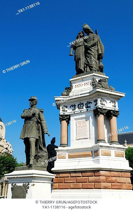 Memorial statue of Colonel Denfert Rochereau  Republic place  Belfort, Belfort territory, Franche Comte region, Europe