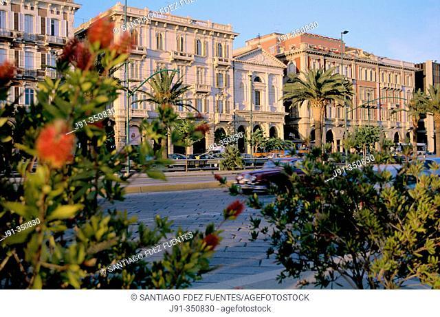 Buildings dating 19th century in Via Roma. Cagliari. Sardinia, Italy