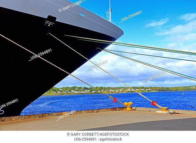 The bow and mooring lines of a cruise liner ship