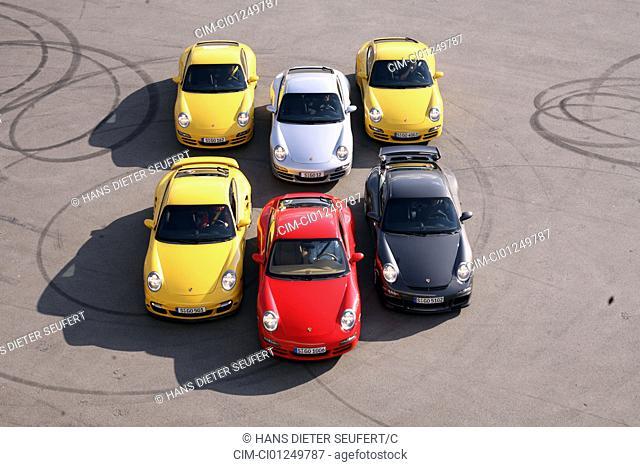 911st Porsche group picture, Porsche 911 Carrera, Porsche 911 Carrera S, Porsche 911 Carrera S Kit, Porsche 911 Turbo, Porsche 911 GT3, standing, upholding
